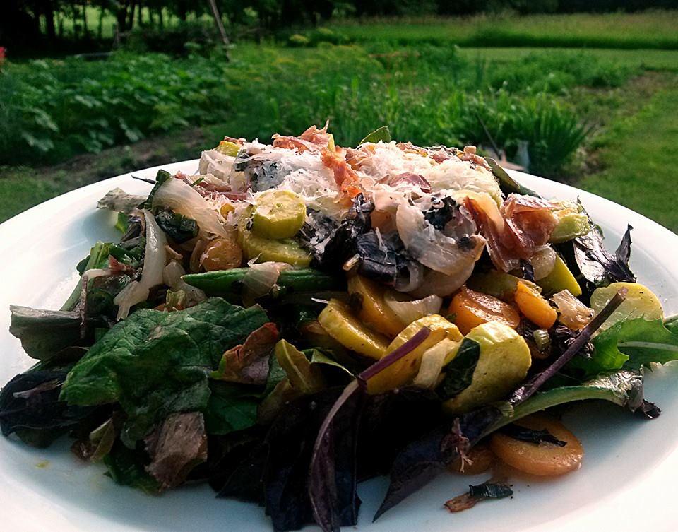 Hot Vegatable Salad for a Gardener.