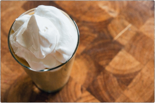 High Angle Fruit Smoothie with Whipped Cream